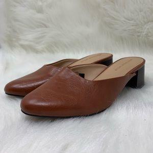 Who What Wear Brown Leather Mule Slip On Heel 7.5